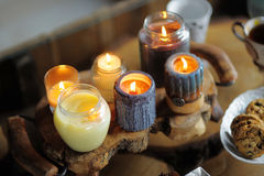 Beautiful ablaze candle Royalty Free Stock Photos