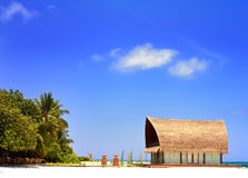 Beautiful aboriginal beachfront villa in Maldive Stock Photography