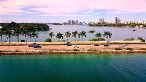 Miami Drive. Beautiful above view of road into downtown Miami, Florida royalty free stock images