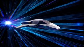 Beautiful abstract animation of spaceship in a time-space tunnel. Animation. 3d animation of spacecraft of the future in