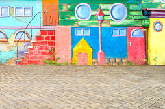 Beautiful abstract art background wall on the street with graffiti. Pattern colorfull home in the city stock image
