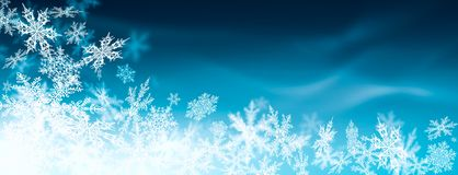 Beautiful Abstract Blue Background Banner with Snowflakes stock illustration