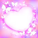 Beautiful abstract background. With heart, butterflies and stars Stock Image