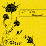 Beautiful abstract background with black flowers. On a yellow background stock illustration