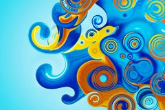 Beautiful abstract background in blue and yellow. Spirals and curls. Bright colorful screensaver. Beautiful abstract background in blue and yellow. Spirals and royalty free stock photos