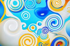 Beautiful abstract background in blue, yellow and white. Spirals and curls. Bright colorful screensaver. Beautiful abstract background in blue and yellow stock photos