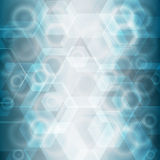 Beautiful abstract background. Beautiful abstract background with bokeh hexagon and circle lights. Blue and white soft colors Stock Images