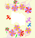 Beautiful abstract background with bright flowers. And place for text vector illustration