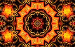 Beautiful abstract background consisting of fractal spirals and ornament on a yellow orange background in the form of a mandala. Creative abstract background royalty free illustration