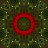 Abstract background of floral pattern of a kaleidoscope. Beautiful Abstract background of floral pattern of a kaleidoscope with red flowers and green background Stock Illustration