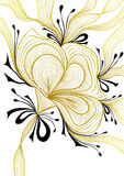 Beautiful abstract background with lace flower bows gold black on white Royalty Free Stock Images