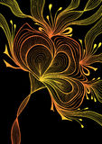 Beautiful  abstract background with lace flower bows gold orange on black Stock Photos