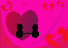 Beautiful abstract background with red hearts and two cats. Royalty Free Stock Photos