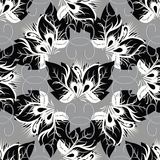 Beautiful abstract black and white butterflies flowers seamless. Pattern. Vector patterned creative background. Grunge surface textured swirl lines. Modern Royalty Free Stock Images