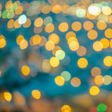 Beautiful abstract blue circular bokeh background, city lights w. Ith instagram toned effect, closeup Stock Image