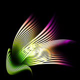 Beautiful abstract composition of curved bands. On a dark background stock illustration