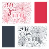 Beautiful abstract doodle with all you need is love quote and flower. Valentine Fashion spring nature lettering.  stock illustration