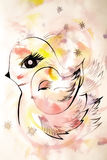 Beautiful abstract drawing bird family. Beautiful abstract drawing bird and her chick Royalty Free Stock Image