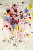 Beautiful abstract drawing flowering tree Stock Image