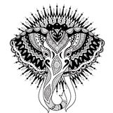 Beautiful abstract elephant head on mandala circle design for t shirt design, printed product, adult or kids coloring book page. V. Ector illustration Royalty Free Stock Photos