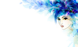 Beautiful abstract face. Beautiful abstract women with abstract design elements Royalty Free Stock Photo