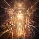 Beautiful Abstract Fairy Angel Being Emanating Golden and Orange Light royalty free stock photo