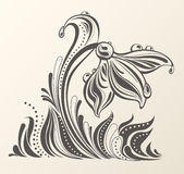 Beautiful abstract flower artwork. Abstract snowdrop with dew drops in a grass. Elegant spring composition combined from decorative shapes.  Easy to edit Royalty Free Stock Photo