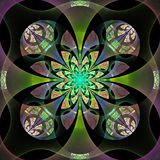 Beautiful abstract flower in gray, green and purple. Computer generated graphics Royalty Free Stock Image