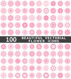 Beautiful abstract flower icons. Vector. 100 Beautiful abstract flower icons. Vector illustration for your pretty chic design. Set of pink natural shapes Royalty Free Illustration