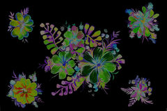 Beautiful abstract flowers on a black background. Bright abstract flowers on a black background Stock Photography
