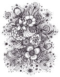 Beautiful abstract flowers bouquet black on white. Beautiful  abstract flowers bouquet black on white made by trace for coloring page or adult relax coloring Royalty Free Stock Image