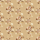 Beautiful abstract flowers on a brown background seamless pattern vector illustration Stock Photos