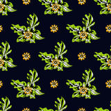 Beautiful abstract flowers on dark background seamless pattern vector illustration. (vector eps 10 Stock Photography