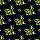 Beautiful abstract flowers on dark background seamless pattern vector illustration. (vector eps 10 vector illustration