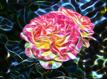 Beautiful abstract fractal  and large flower royalty free illustration