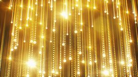 Beautiful Abstract Golden Particles Falling Twinkling Rain with Flares Light Seamless. Looped 3d Animation Moving Gold royalty free illustration