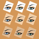 A beautiful abstract human female eye concept in d. A beautiful abstract female eye concept in different colors Royalty Free Stock Image