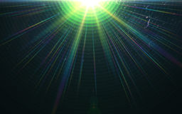 Beautiful abstract image of lens flare with black. Background.Green shine on black background Royalty Free Stock Image