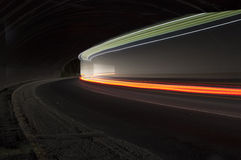 Beautiful abstract lights in a car tunnel Stock Images