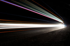 Beautiful abstract lights in a car tunnel Royalty Free Stock Image