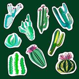 Beautiful abstract lovely mexican tropical floral herbal summer green set of a cactus paint like child stickers on dark green back Stock Photo