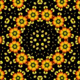 Beautiful abstract orange ornament on black isolated background. Fractal kaleidoscope. Geometric pattern. Bright color decor royalty free illustration