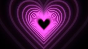 Beautiful Abstract Purple Hearts Travelling through Futuristic Tunnel.
