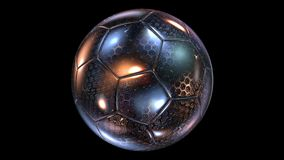 Beautiful Abstract Rotating Glass-Metal Soccer Ball