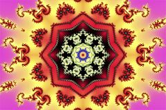 Beautiful abstract texture consisting of geometric shapes of fractal spirals and ornament on a beautiful multi-colored background. Beautiful abstract texture stock illustration