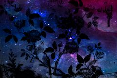 Beautiful abstract tree and flowers on the colorful pink blue purple and the solar system planets background and wallpaper stock images
