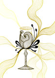 Beautiful abstract wineglass with lace flower bows black gold  on white Royalty Free Stock Photo