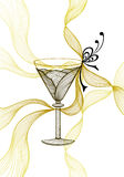 Beautiful abstract wineglass with lace flower bows black gold on white. For decoration package or for wallpaper or for advertising Glassware or wine cocktail stock illustration