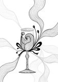 Beautiful abstract wineglass with lace flower bows black on white Stock Photos