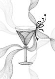 Beautiful abstract wineglass with lace flower bows black on white Stock Photography